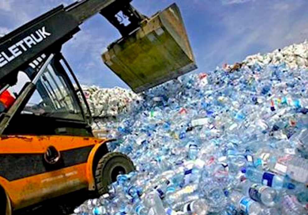 Plastic-bottles-being-landfilled
